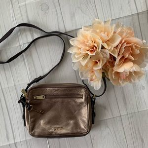 Fossil Leather Bronze Crossbody Rectangle Purse